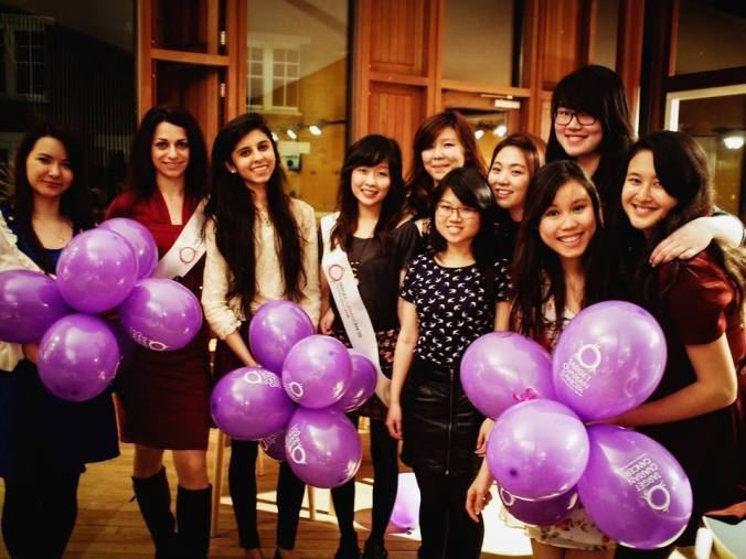 Old & new committee at the Bake Off. From left: Sophie (Secretary), Diana (External Relations), Amar (Publicity), Chiwei (Treasurer), Linh (Publicity), Tricia (Events), Emily (Events), Florence (President), Simone (New Secretary with balloons), Natasha (New President)