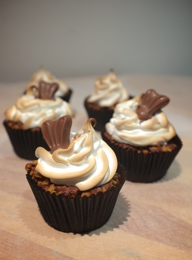 S'mores cupcakes with Malteser Bunnies.
